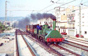 Viatge del Tren del Centenari amb motiu de l'apertura del Museu del Ferrocarril de Vilanova. 3 d'agost de 1990. Foto Jordi Rallo.